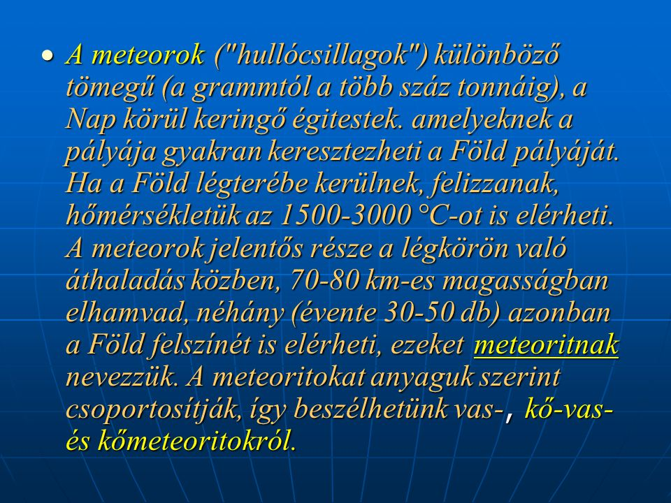  A meteorok (