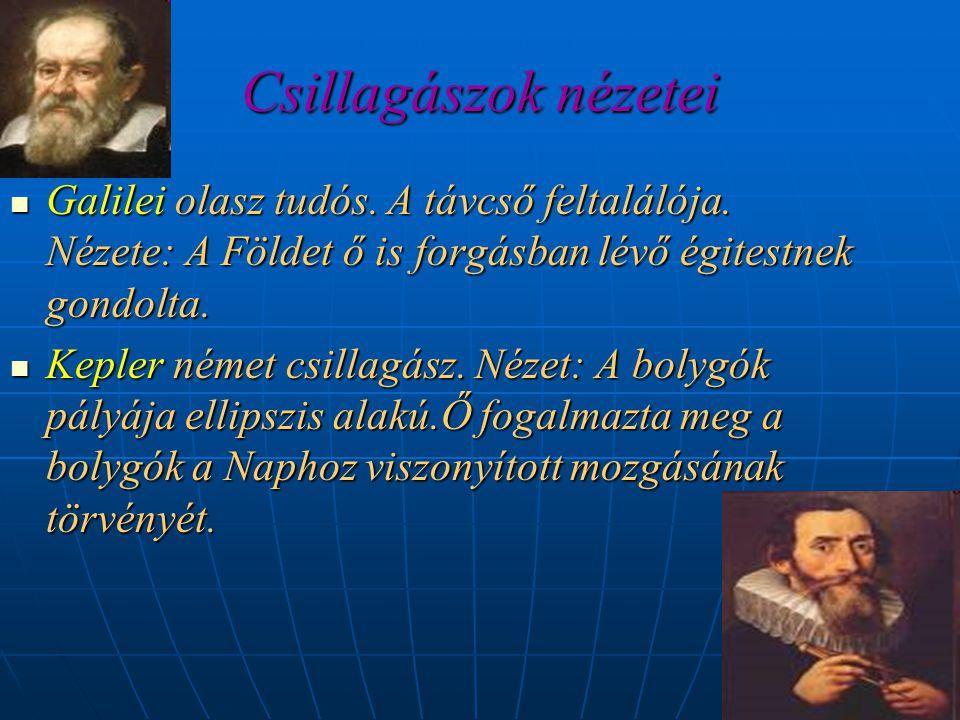 Csillagászok nézetei  Galilei olasz tudós. A távcső feltalálója. Nézete: A Földet ő is forgásban lévő égitestnek gondolta.  Kepler német csillagász.