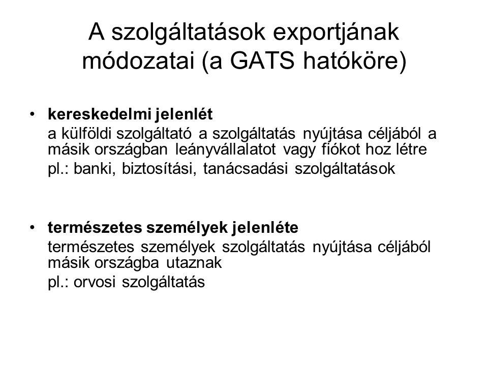 A szolgáltatások exportjának módozatai (a GATS hatóköre) •kereskedelmi jelenlét a külföldi szolgáltató a szolgáltatás nyújtása céljából a másik ország
