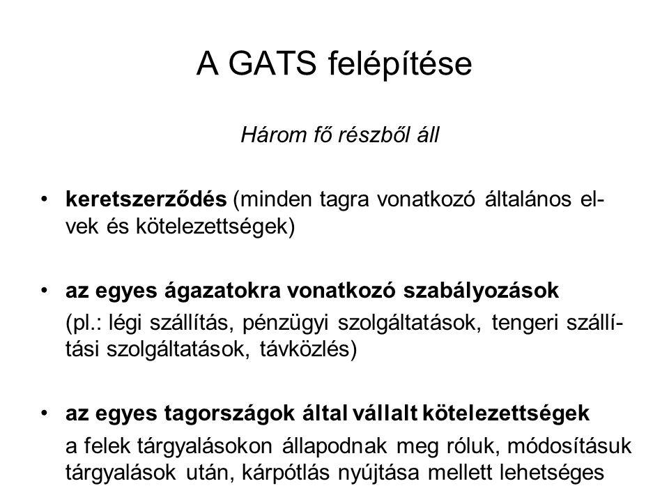 A GATS felépítése Három fő részből áll •keretszerződés (minden tagra vonatkozó általános el- vek és kötelezettségek) •az egyes ágazatokra vonatkozó sz