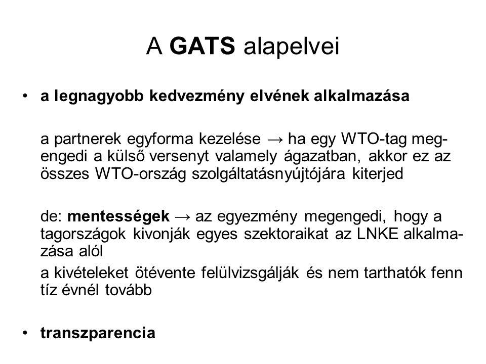 A GATS alapelvei •a legnagyobb kedvezmény elvének alkalmazása a partnerek egyforma kezelése → ha egy WTO-tag meg- engedi a külső versenyt valamely ága