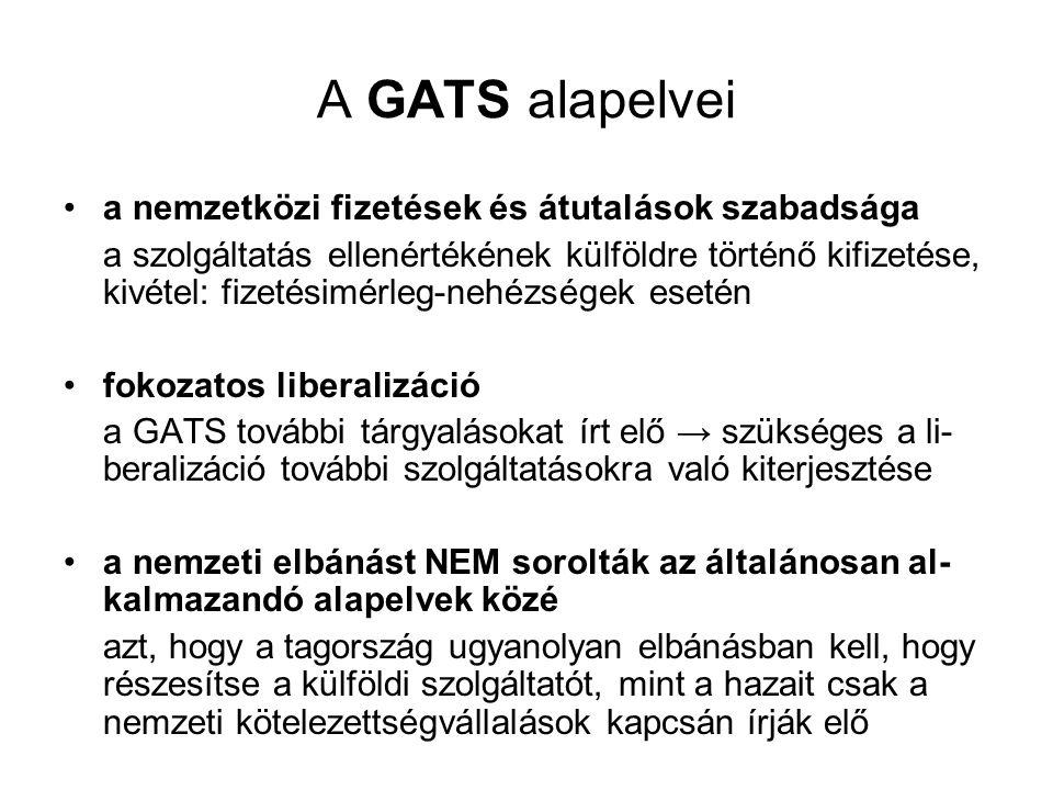 A GATS alapelvei •a nemzetközi fizetések és átutalások szabadsága a szolgáltatás ellenértékének külföldre történő kifizetése, kivétel: fizetésimérleg-