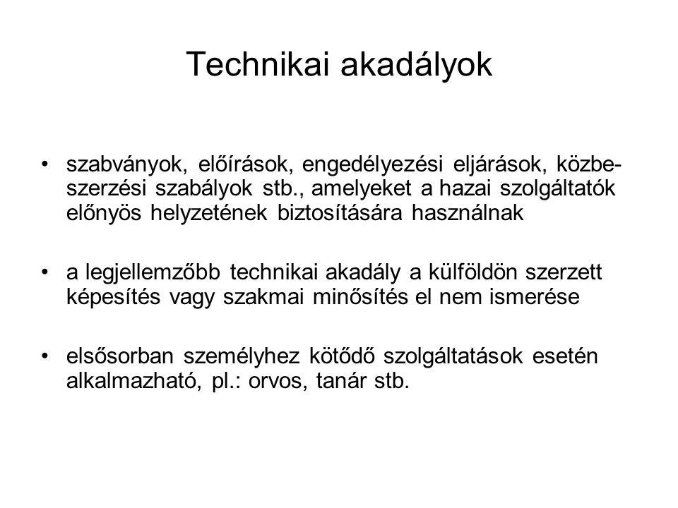 Technikai akadályok •szabványok, előírások, engedélyezési eljárások, közbe- szerzési szabályok stb., amelyeket a hazai szolgáltatók előnyös helyzeténe