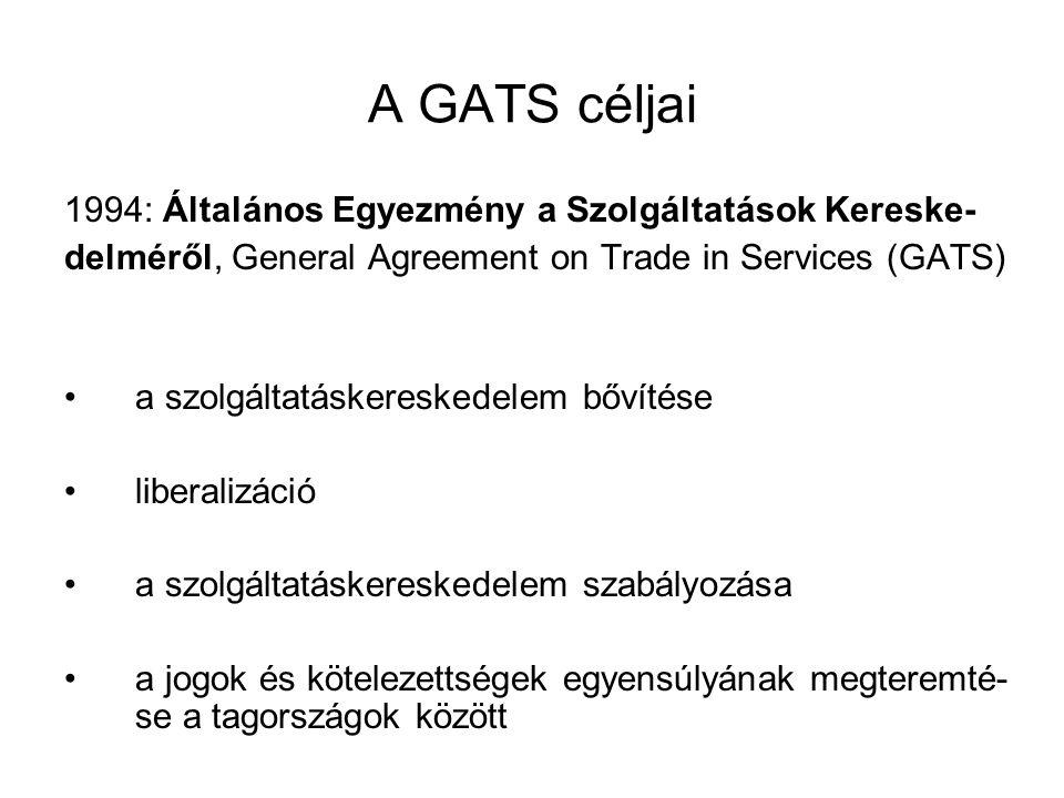 A szolgáltatások exportjának módozatai (a GATS hatóköre) •határokon átnyúló kereskedelem egy adott ország területéről egy másik ország területére teljesített szolgáltatás pl.: a postai szolgáltatások, TV köz- vetítés, nk-i telefonhívás stb.