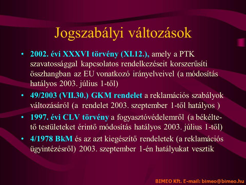 A KÉTÉVES SZAVATOSSÁG BIMEO Kft. 1047 Budapest, Baross u. 39. Tel. 272-0011, fax: 369-1058 E-mail: bimeo@bimeo.hu A reklamációs szabályok változása