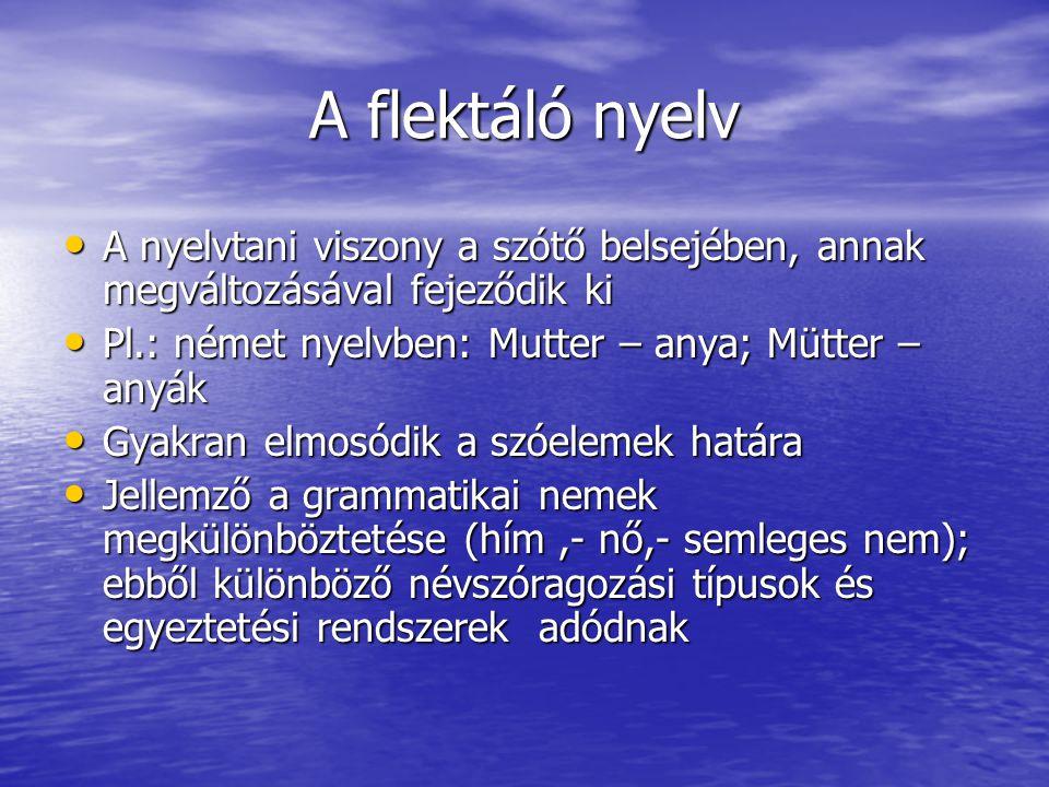 A flektáló nyelv • A nyelvtani viszony a szótő belsejében, annak megváltozásával fejeződik ki • Pl.: német nyelvben: Mutter – anya; Mütter – anyák • Gyakran elmosódik a szóelemek határa • Jellemző a grammatikai nemek megkülönböztetése (hím,- nő,- semleges nem); ebből különböző névszóragozási típusok és egyeztetési rendszerek adódnak