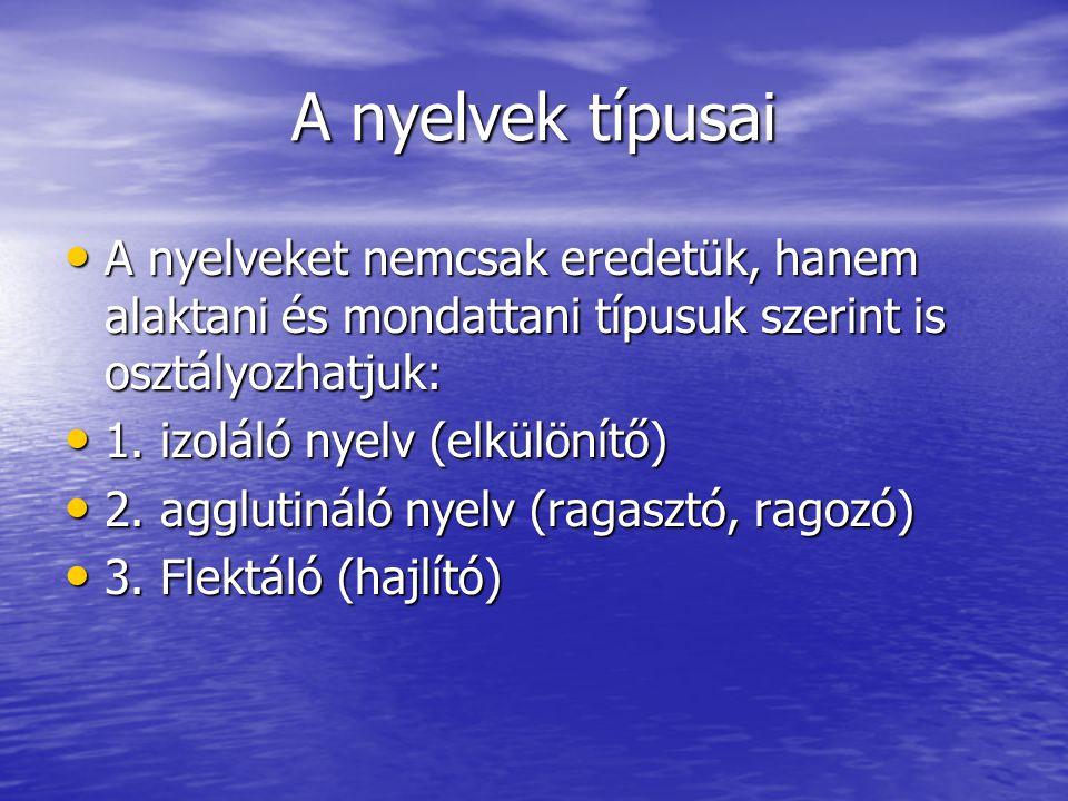 A nyelvek típusai • A nyelveket nemcsak eredetük, hanem alaktani és mondattani típusuk szerint is osztályozhatjuk: • 1.