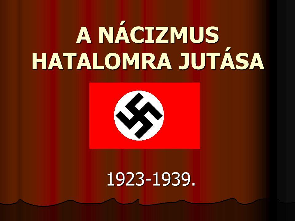  A polgári szabadságjogok erős korlátozása  Leszámolás a belső ellenzékkel  1934-től Hitler pártvezető és államfő is egyben  A Nürnbergi törvények :zsidók teljes jogkorlátozása, koncentrációs táborok felállítása.