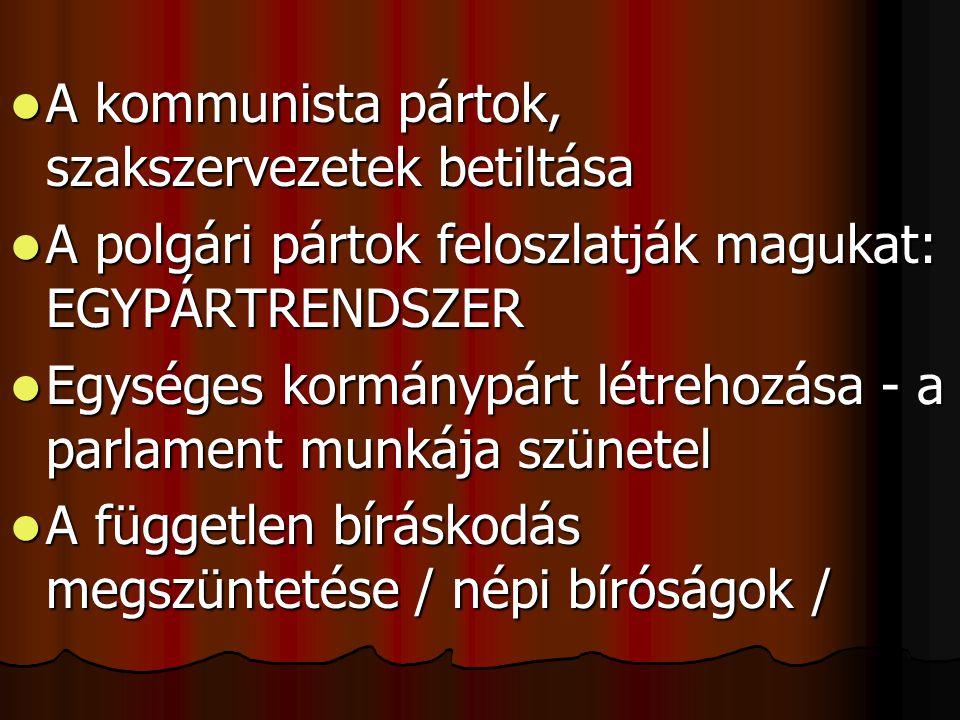  A kommunista pártok, szakszervezetek betiltása  A polgári pártok feloszlatják magukat: EGYPÁRTRENDSZER  Egységes kormánypárt létrehozása - a parla