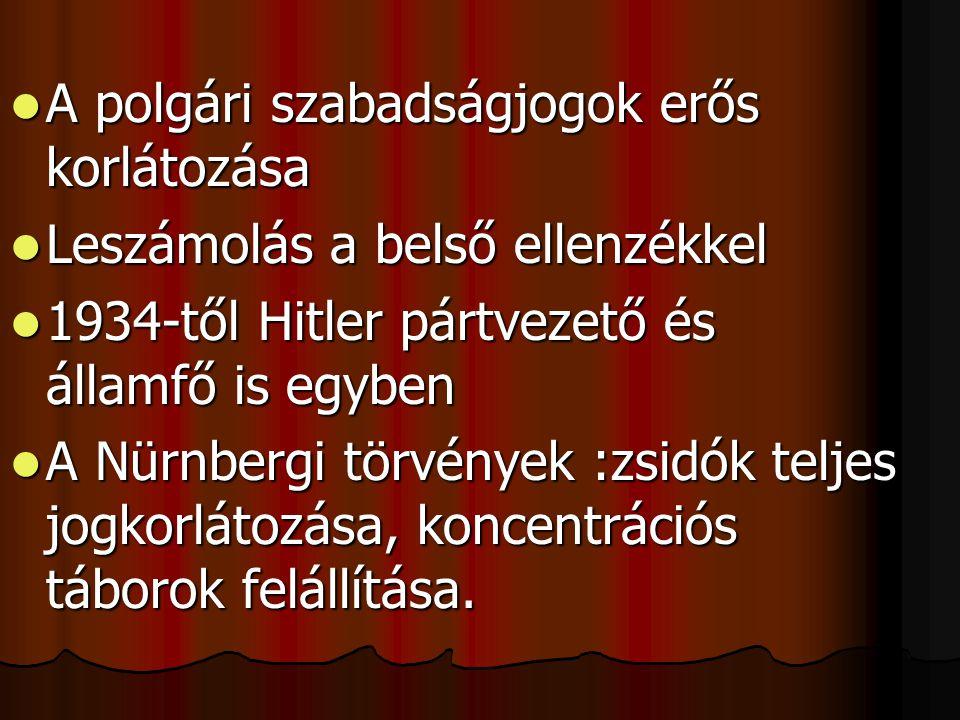  A polgári szabadságjogok erős korlátozása  Leszámolás a belső ellenzékkel  1934-től Hitler pártvezető és államfő is egyben  A Nürnbergi törvények