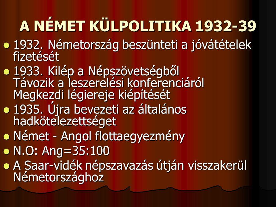 A NÉMET KÜLPOLITIKA 1932-39  1932. Németország beszünteti a jóvátételek fizetését  1933. Kilép a Népszövetségből Távozik a leszerelési konferenciáró