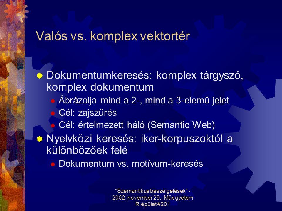 Szemantikus beszélgetések - 2002. november 29., Műegyetem R épület #201 Valós vs.