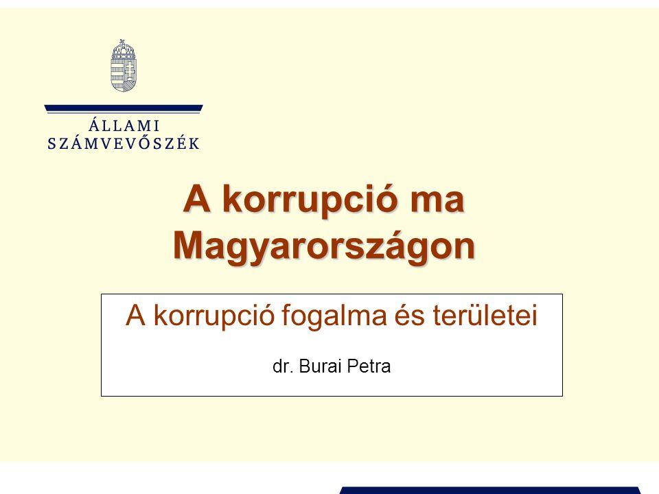 A korrupció ma Magyarországon A korrupció fogalma és területei dr. Burai Petra