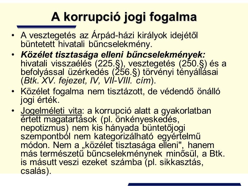 A korrupció jogi fogalma •A vesztegetés az Árpád-házi királyok idejétől büntetett hivatali bűncselekmény. •Közélet tisztasága elleni bűncselekmények: