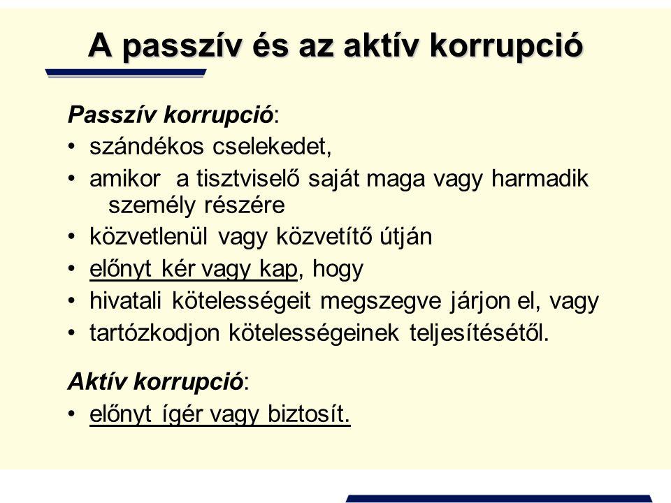 A passzív és az aktív korrupció Passzív korrupció: • szándékos cselekedet, • amikor a tisztviselő saját maga vagy harmadik személy részére • közvetlen