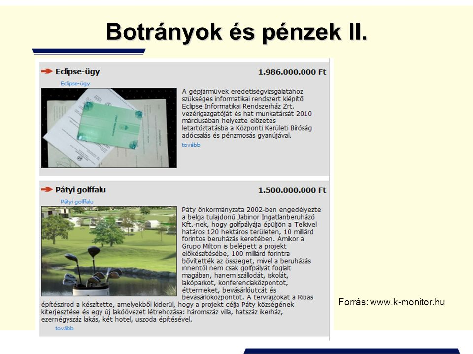 Botrányok és pénzek III. Forrás: www.k-monitor.hu