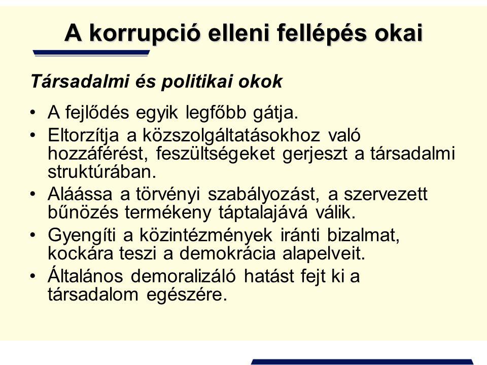 A korrupció elleni fellépés okai Társadalmi és politikai okok •A fejlődés egyik legfőbb gátja.