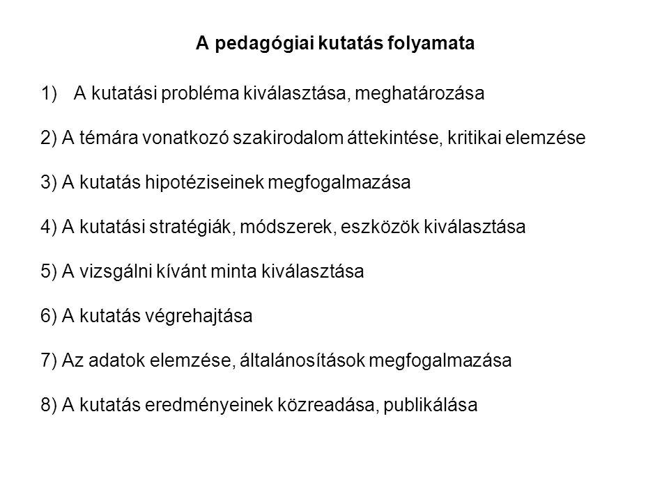 A pedagógiai kutatás folyamata 1)A kutatási probléma kiválasztása, meghatározása 2) A témára vonatkozó szakirodalom áttekintése, kritikai elemzése 3) A kutatás hipotéziseinek megfogalmazása 4) A kutatási stratégiák, módszerek, eszközök kiválasztása 5) A vizsgálni kívánt minta kiválasztása 6) A kutatás végrehajtása 7) Az adatok elemzése, általánosítások megfogalmazása 8) A kutatás eredményeinek közreadása, publikálása