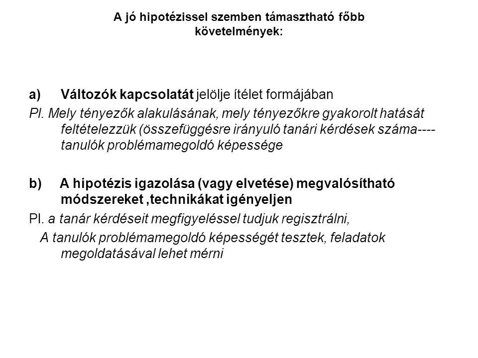 A jó hipotézissel szemben támasztható főbb követelmények: a)Változók kapcsolatát jelölje ítélet formájában Pl.