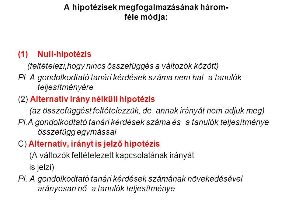 A hipotézisek megfogalmazásának három- féle módja: (1)Null-hipotézis (feltételezi,hogy nincs összefüggés a változók között) Pl.