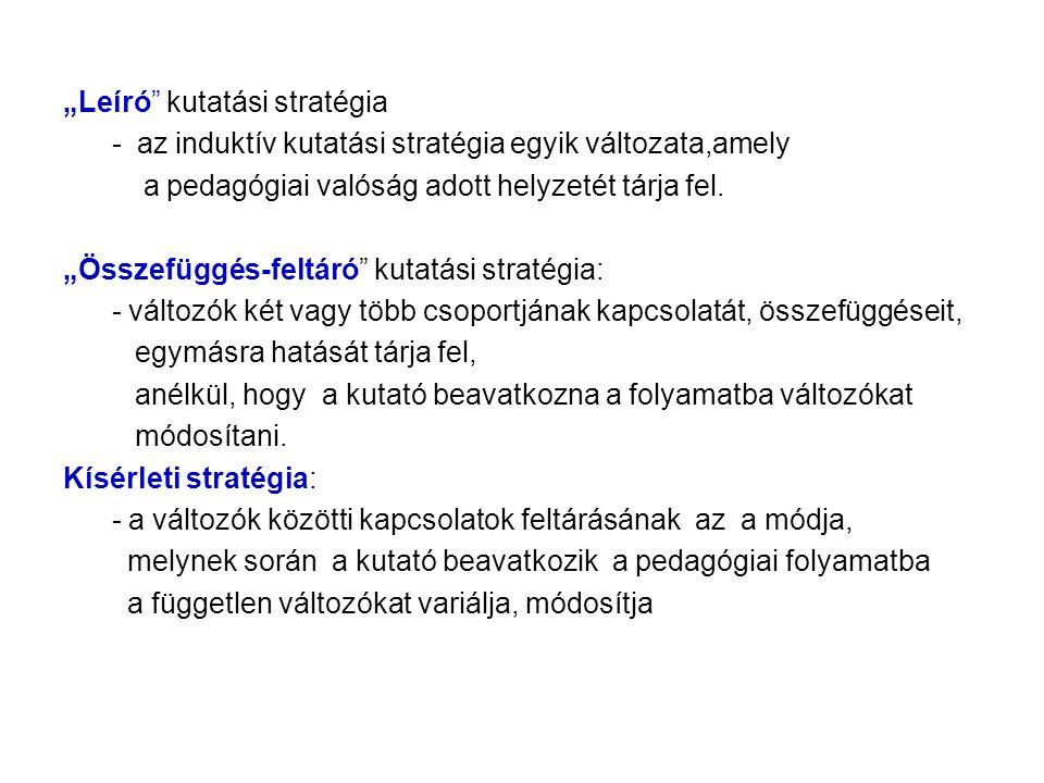 """""""Leíró kutatási stratégia - az induktív kutatási stratégia egyik változata,amely a pedagógiai valóság adott helyzetét tárja fel."""