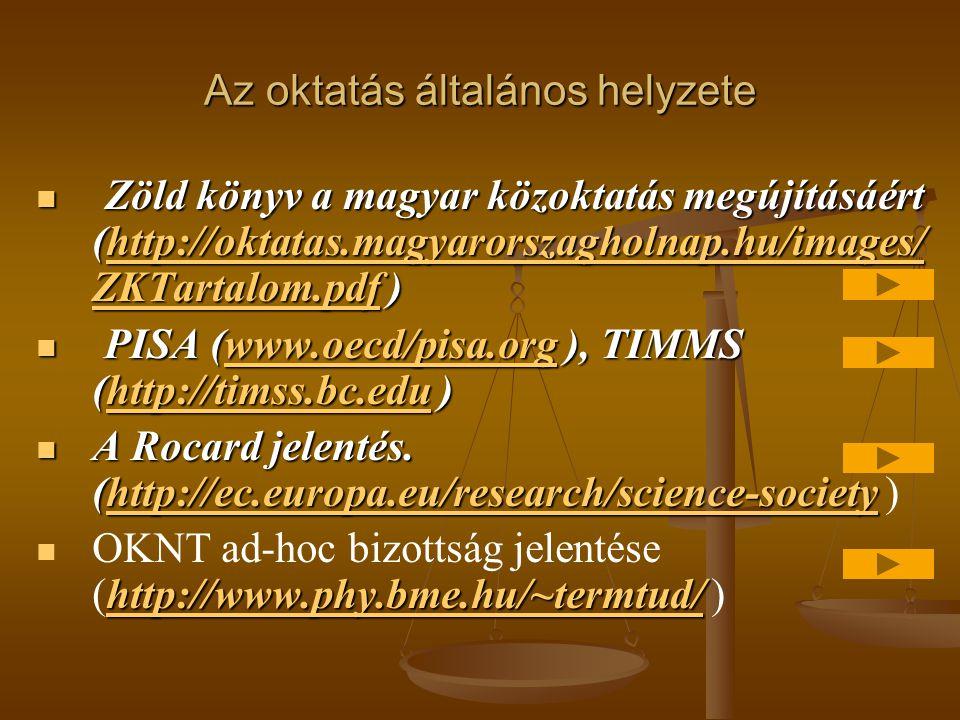 Az oktatás általános helyzete  Zöld könyv a magyar közoktatás megújításáért (http://oktatas.magyarorszagholnap.hu/images/ ZKTartalom.pdf ) http://okt