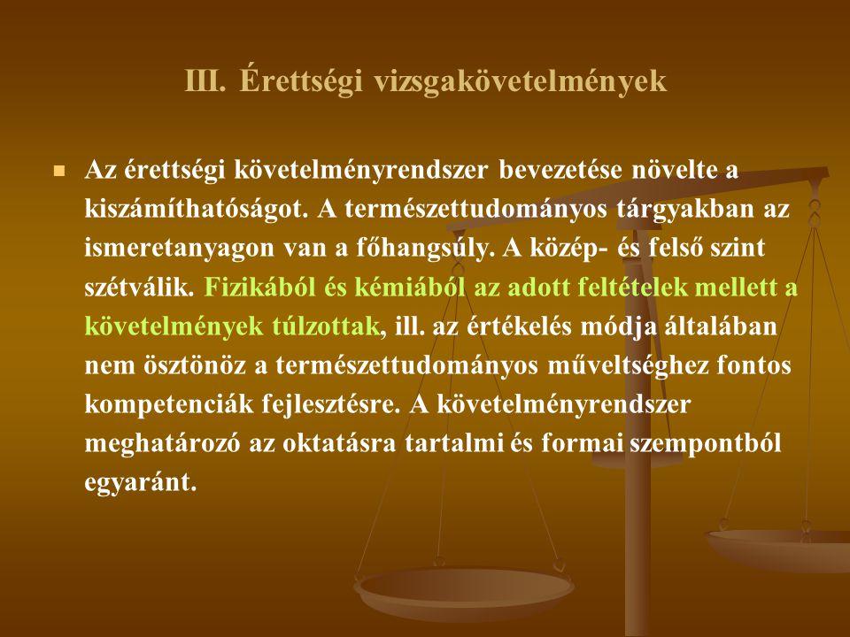 III. Érettségi vizsgakövetelmények   Az érettségi követelményrendszer bevezetése növelte a kiszámíthatóságot. A természettudományos tárgyakban az is