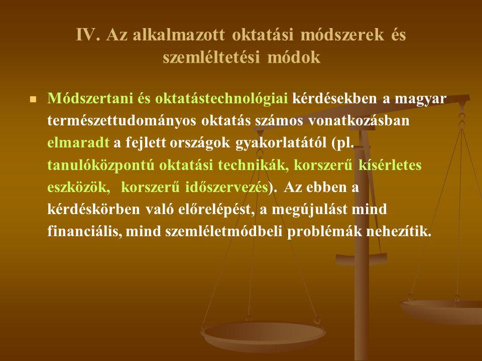 IV. Az alkalmazott oktatási módszerek és szemléltetési módok   Módszertani és oktatástechnológiai kérdésekben a magyar természettudományos oktatás s