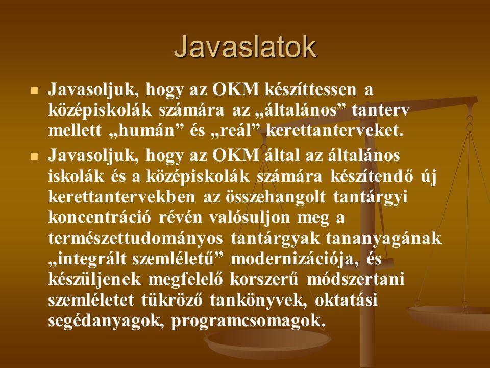 """Javaslatok   Javasoljuk, hogy az OKM készíttessen a középiskolák számára az """"általános"""" tanterv mellett """"humán"""" és """"reál"""" kerettanterveket.   Java"""