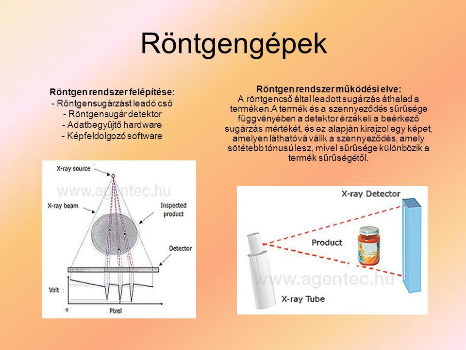 Röntgengépek Röntgen rendszer felépítése: - Röntgensugárzást leadó cső - Röntgensugár detektor - Adatbegyűjtő hardware - Képfeldolgozó software Röntge