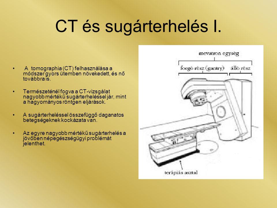CT és sugárterhelés I. • A tomographia (CT) felhasználása a módszer gyors ütemben növekedett, és nő továbbra is. •Természeténél fogva a CT-vizsgálat n