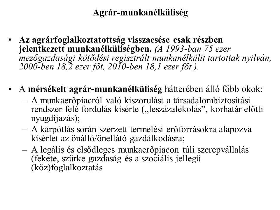 Agrár-munkanélküliség •Az agrárfoglalkoztatottság visszaesése csak részben jelentkezett munkanélküliségben. (A 1993-ban 75 ezer mezőgazdasági kötődési
