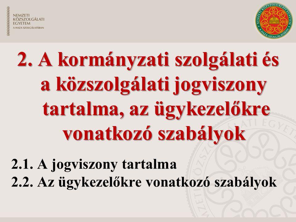 2. A kormányzati szolgálati és a közszolgálati jogviszony tartalma, az ügykezelőkre vonatkozó szabályok 2.1. A jogviszony tartalma 2.2. Az ügykezelőkr