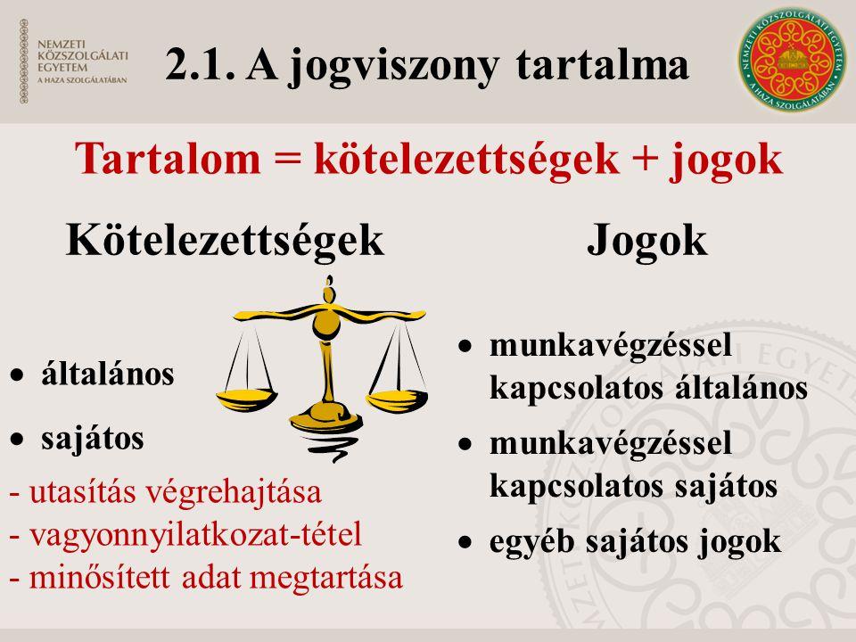 2.1. A jogviszony tartalma KötelezettségekJogok  általános  sajátos - utasítás végrehajtása - vagyonnyilatkozat-tétel - minősített adat megtartása 