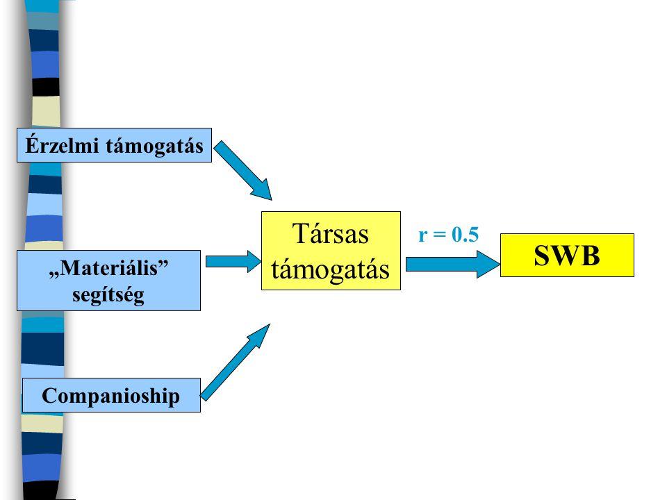 """Érzelmi támogatás """"Materiális"""" segítség Companioship Társas támogatás SWB r = 0.5"""