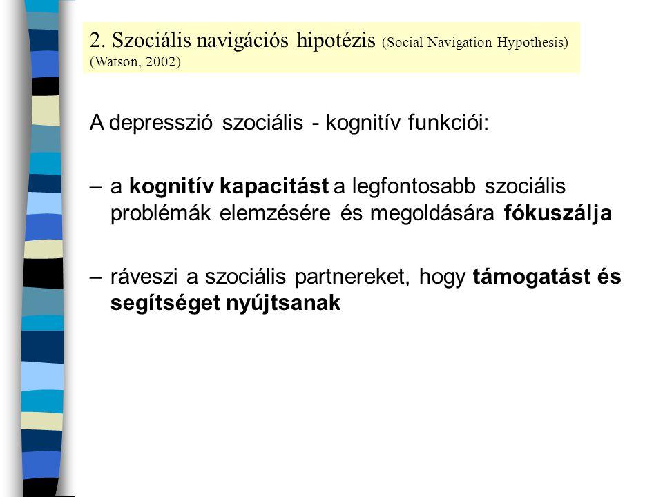 A depresszió szociális - kognitív funkciói: –a kognitív kapacitást a legfontosabb szociális problémák elemzésére és megoldására fókuszálja –ráveszi a