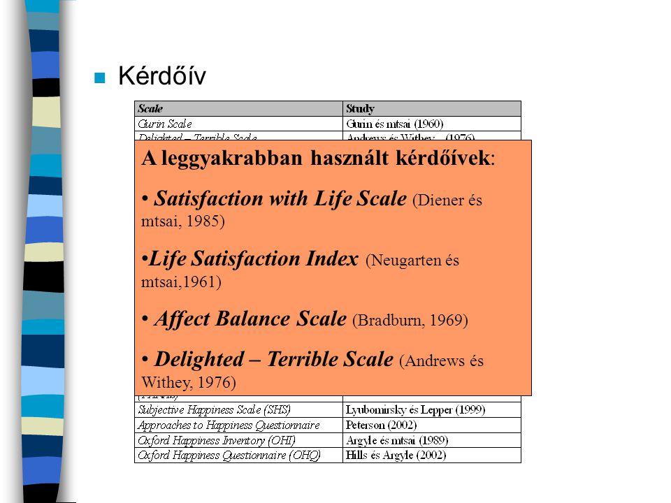 n Kérdőív A leggyakrabban használt kérdőívek: • Satisfaction with Life Scale (Diener és mtsai, 1985) •Life Satisfaction Index (Neugarten és mtsai,1961