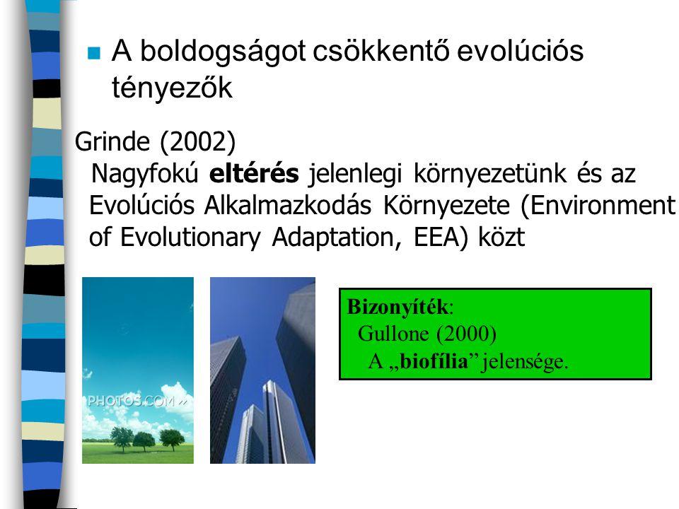 n A boldogságot csökkentő evolúciós tényezők Grinde (2002) Nagyfokú eltérés jelenlegi környezetünk és az Evolúciós Alkalmazkodás Környezete (Environme