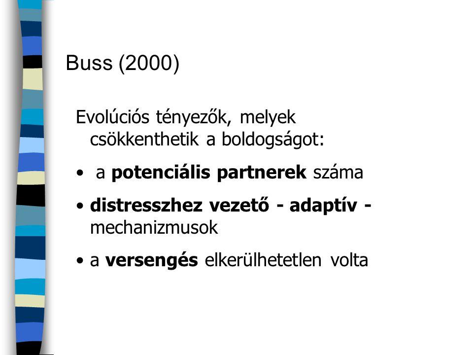 Buss (2000) Evolúciós tényezők, melyek csökkenthetik a boldogságot: • a potenciális partnerek száma •distresszhez vezető - adaptív - mechanizmusok •a