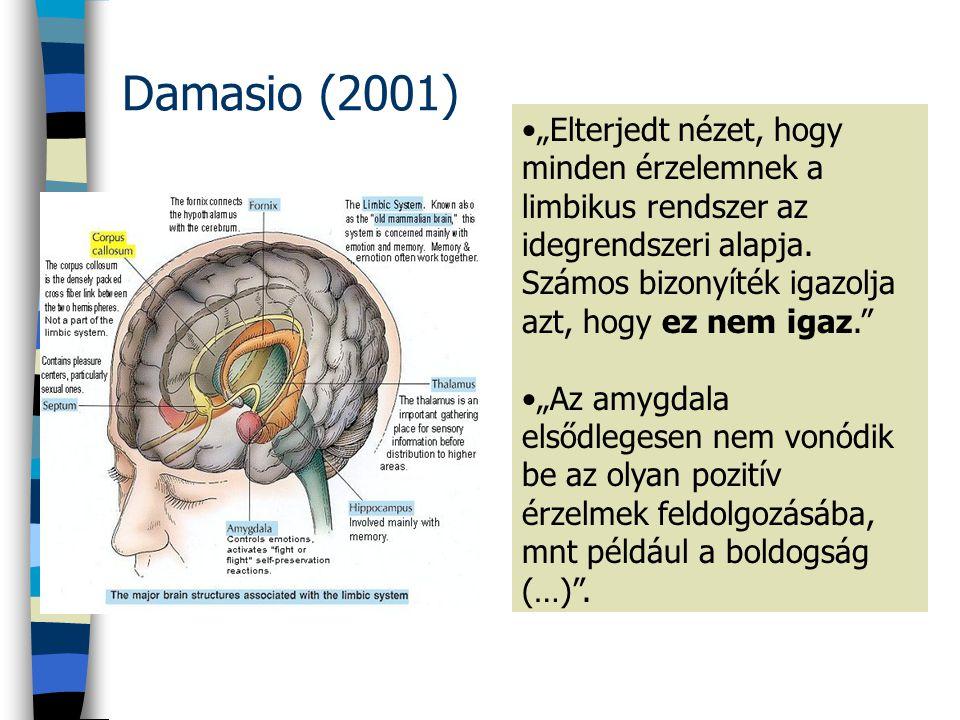 """Damasio (2001) •""""Elterjedt nézet, hogy minden érzelemnek a limbikus rendszer az idegrendszeri alapja. Számos bizonyíték igazolja azt, hogy ez nem igaz"""