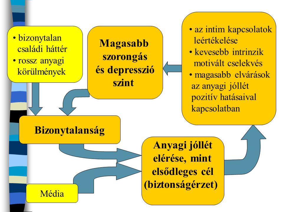 • bizonytalan családi háttér • rossz anyagi körülmények Magasabb szorongás és depresszió szint Bizonytalanság Média Anyagi jóllét elérése, mint elsődl