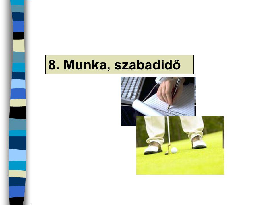 8. Munka, szabadidő