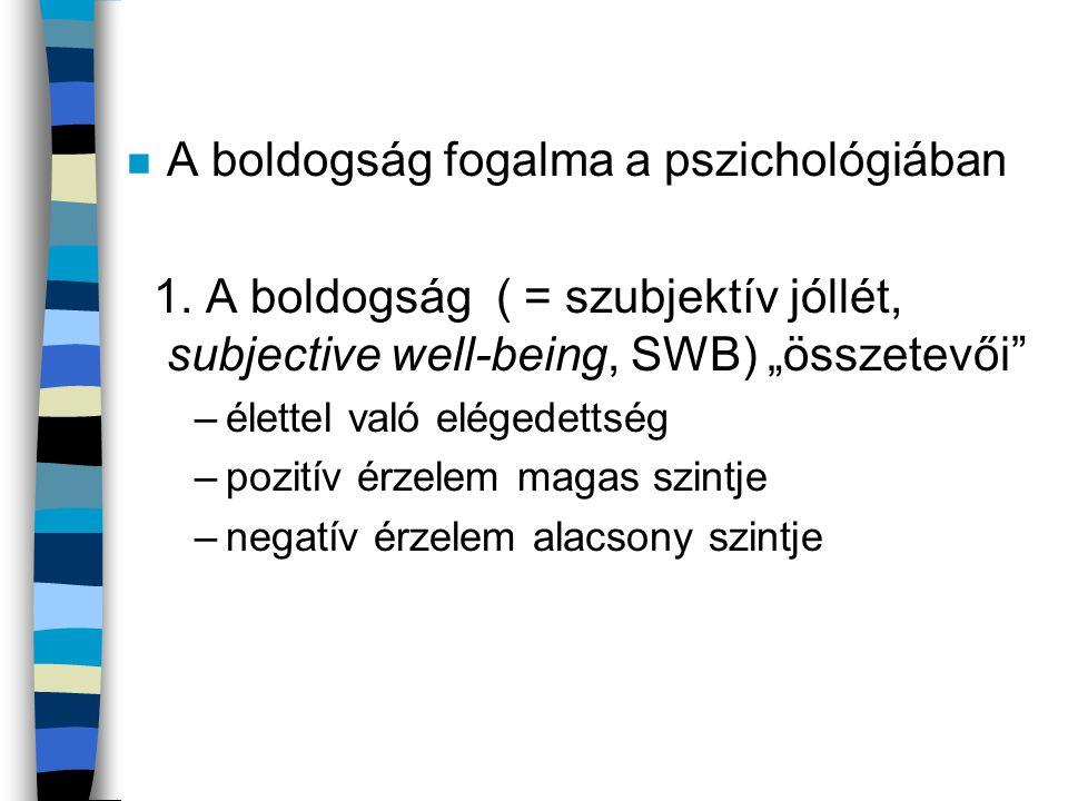 """n A boldogság fogalma a pszichológiában 1. A boldogság ( = szubjektív jóllét, subjective well-being, SWB) """"összetevői"""" –élettel való elégedettség –poz"""