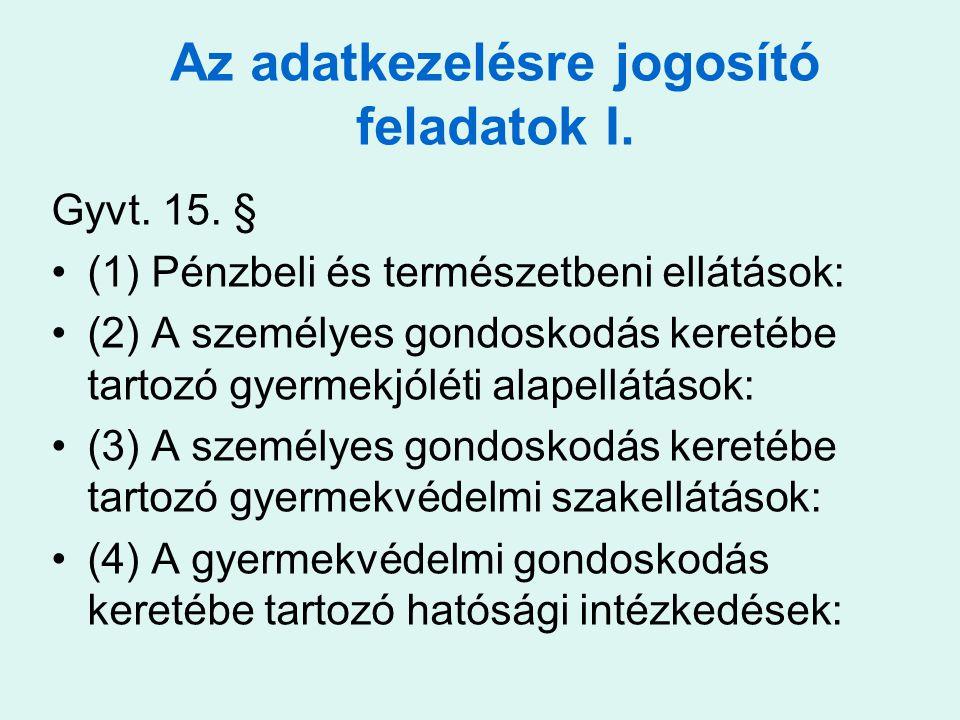Gyvt. 15. § •(1) Pénzbeli és természetbeni ellátások: •(2) A személyes gondoskodás keretébe tartozó gyermekjóléti alapellátások: •(3) A személyes gond