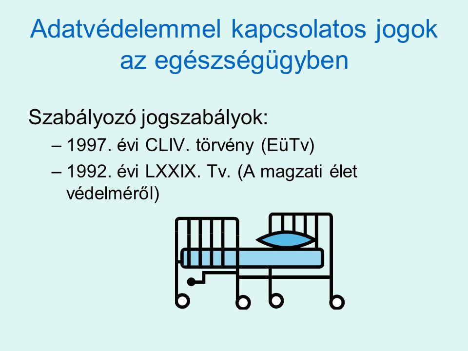 Adatvédelemmel kapcsolatos jogok az egészségügyben Szabályozó jogszabályok: –1997. évi CLIV. törvény (EüTv) –1992. évi LXXIX. Tv. (A magzati élet véde