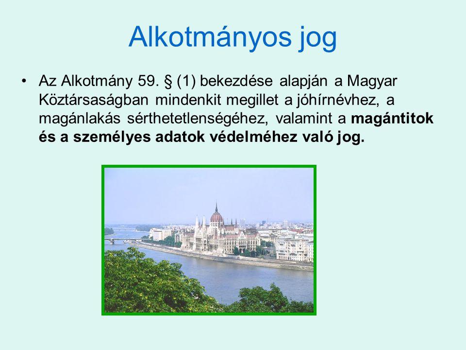 Alkotmányos jog •Az Alkotmány 59. § (1) bekezdése alapján a Magyar Köztársaságban mindenkit megillet a jóhírnévhez, a magánlakás sérthetetlenségéhez,