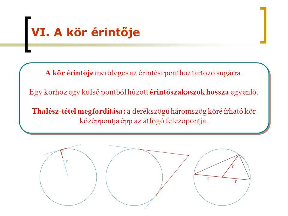 VI. A kör érintője A kör érintője merőleges az érintési ponthoz tartozó sugárra. Egy körhöz egy külső pontból húzott érintőszakaszok hossza egyenlő. T
