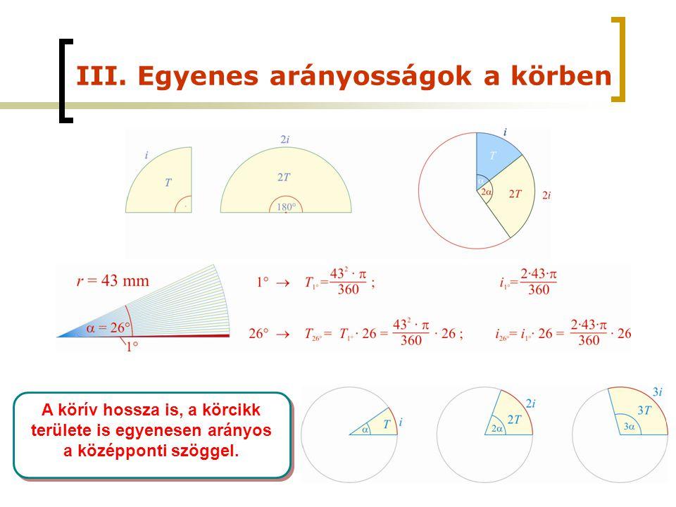 III. Egyenes arányosságok a körben A körív hossza is, a körcikk területe is egyenesen arányos a középponti szöggel.