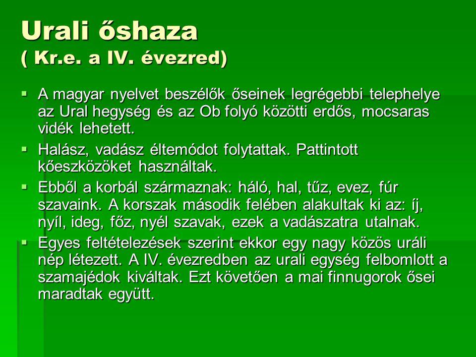 Urali őshaza ( Kr.e. a IV. évezred)  A magyar nyelvet beszélők őseinek legrégebbi telephelye az Ural hegység és az Ob folyó közötti erdős, mocsaras v