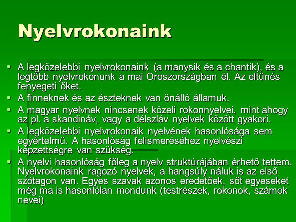 Nyelvrokonaink  A legközelebbi nyelvrokonaink (a manysik és a chantik), és a legtöbb nyelvrokonunk a mai Oroszországban él. Az eltűnés fenyegeti őket